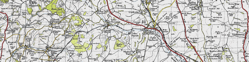 Old map of Toller Fratrum in 1945