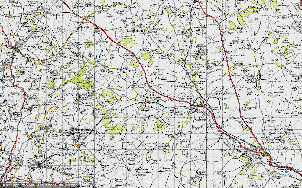 Old Map of Toller Porcorum, 1945 in 1945