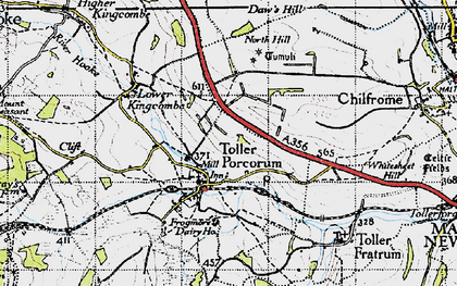 Old map of Toller Porcorum in 1945