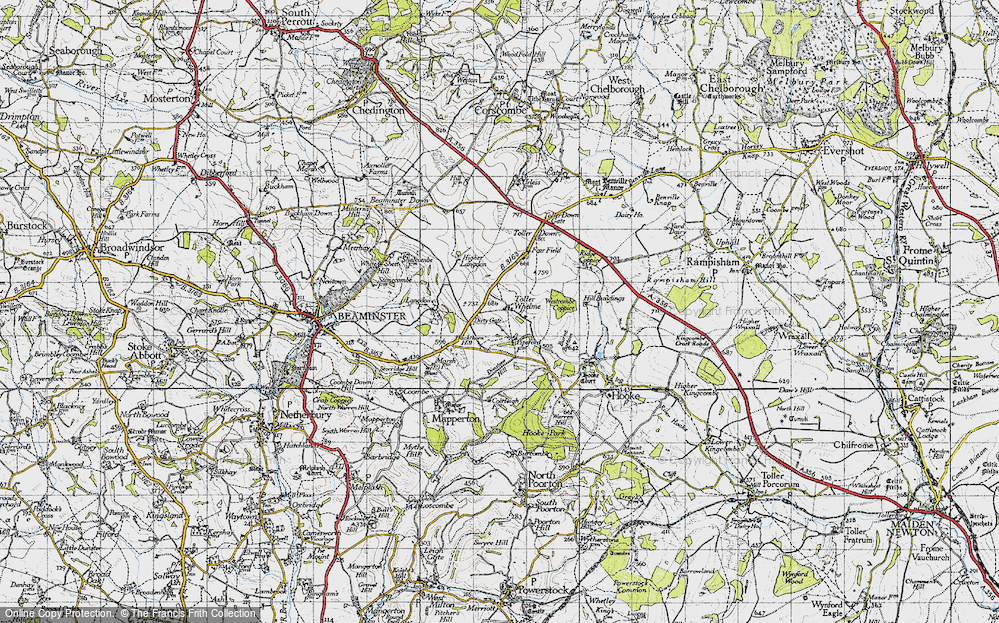 Old Map of Toller Whelme, 1945 in 1945