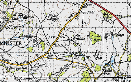 Old map of Westcombe Coppice in 1945