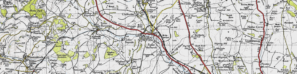 Old map of Tollerford in 1945