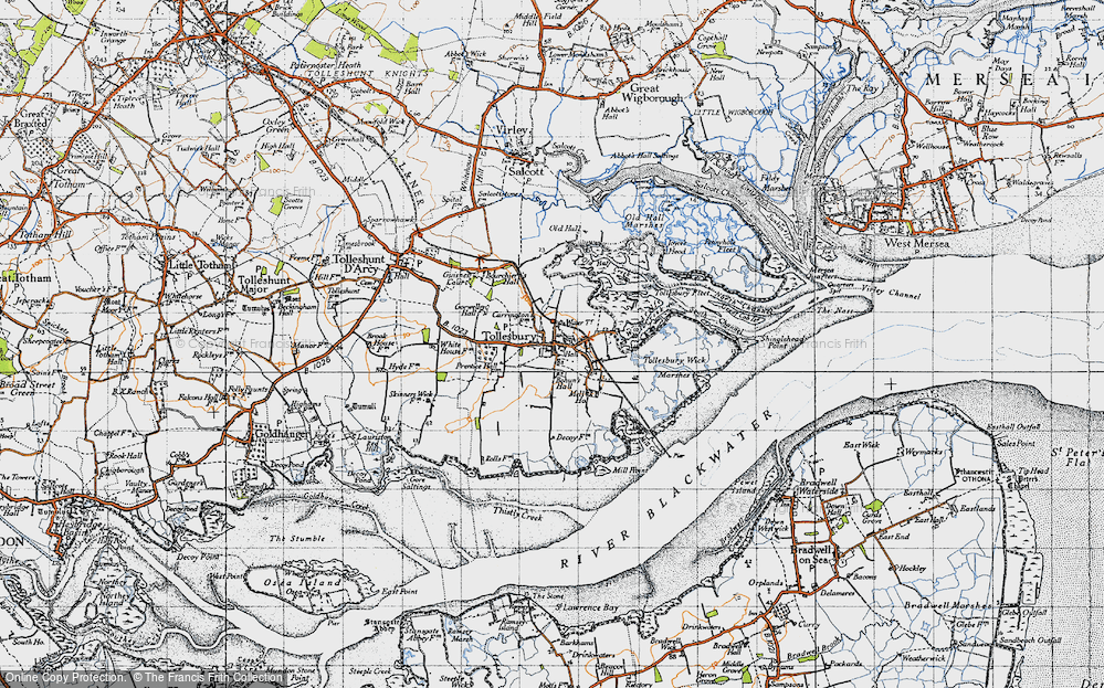 Old Map of Historic Map covering Tollesbury Fleet in 1945