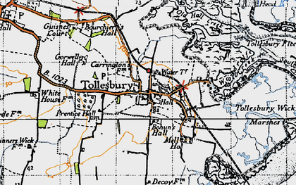 Old map of Tollesbury Wick Marshes in 1945