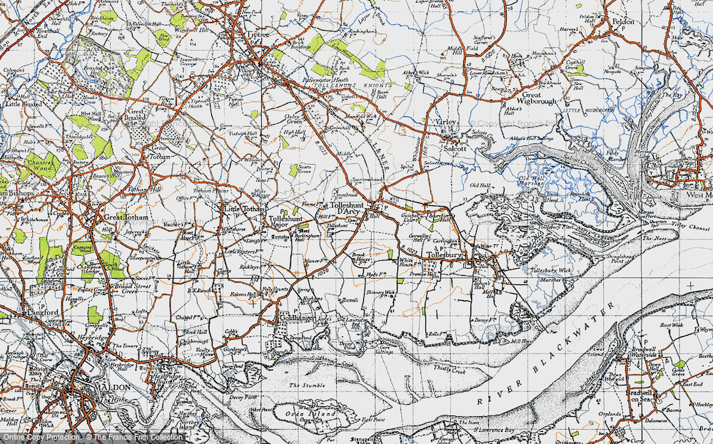 Old Map of Tolleshunt D'Arcy, 1945 in 1945