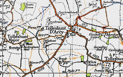 Old map of Tolleshunt D'Arcy in 1945