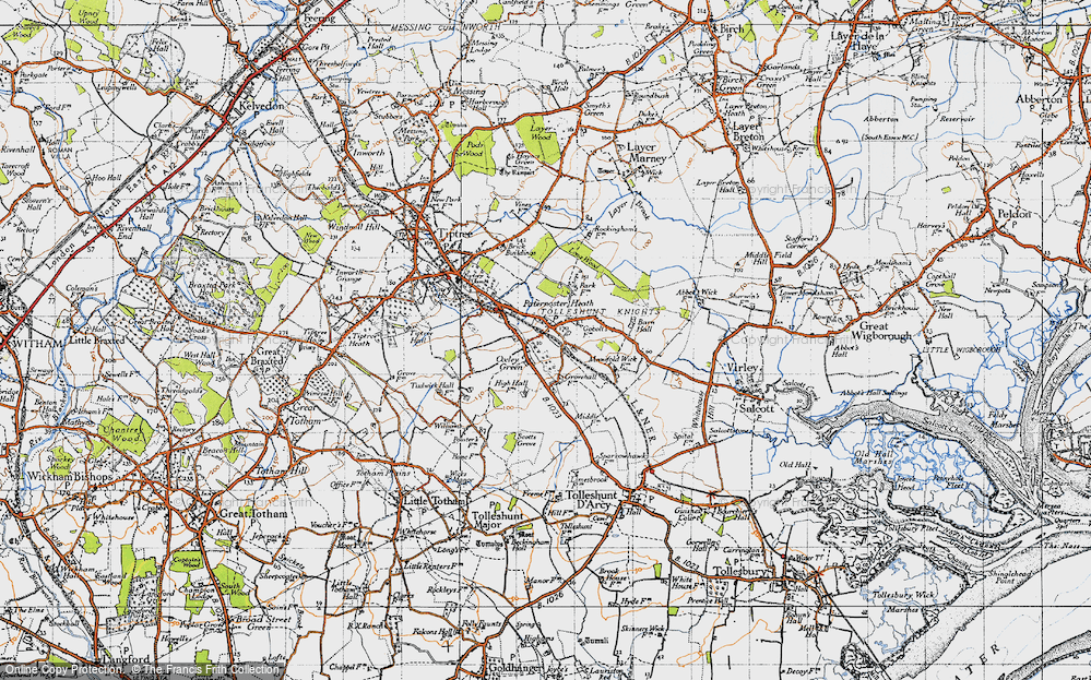 Old Map of Tolleshunt Knights, 1945 in 1945