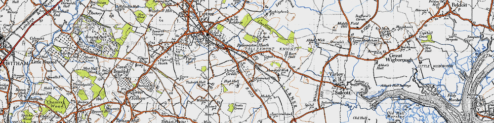 Old map of Tolleshunt Knights in 1945