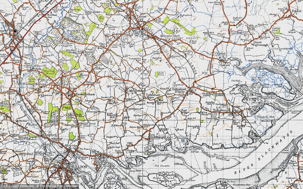 Old Map of Tolleshunt Major, 1945 in 1945