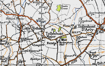Old map of Tolleshunt Major in 1945