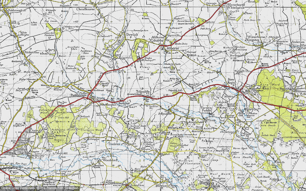 Old Map of Tolpuddle, 1945 in 1945
