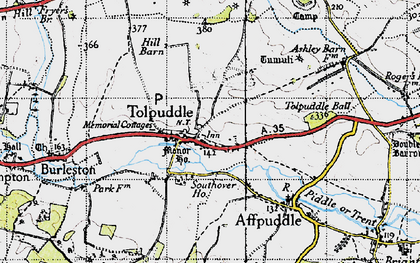 Old map of Tolpuddle in 1945