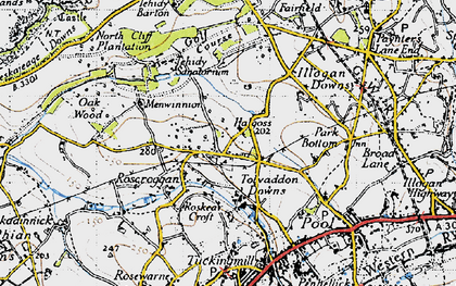 Old map of Tolvaddon Downs in 1946