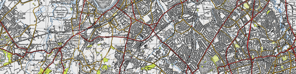 Old map of Tolworth in 1945