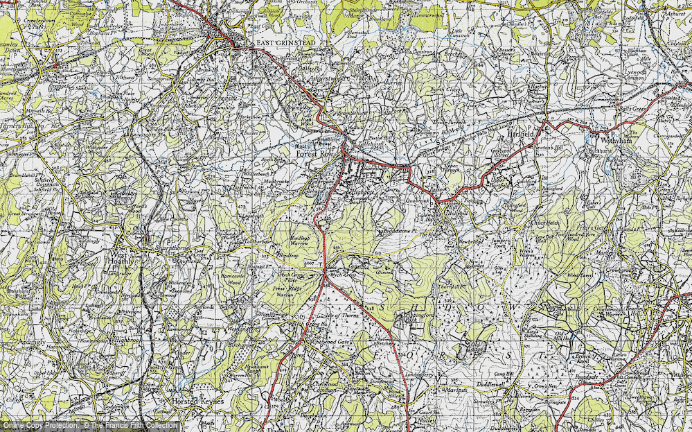 Old Map of Historic Map covering Ashdown Park (Hotel) in 1940