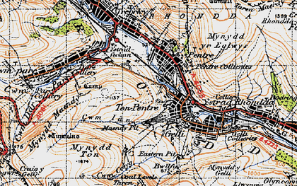 Old map of Ton Pentre in 1947
