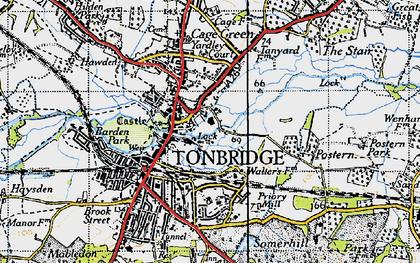 Old map of Tonbridge in 1946