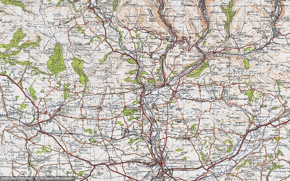 Old Map of Tondu, 1947 in 1947