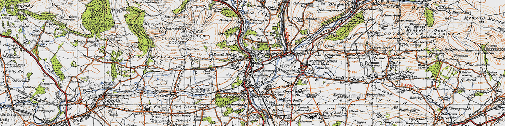 Old map of Tondu in 1947