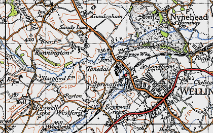 Old map of Tonedale in 1946