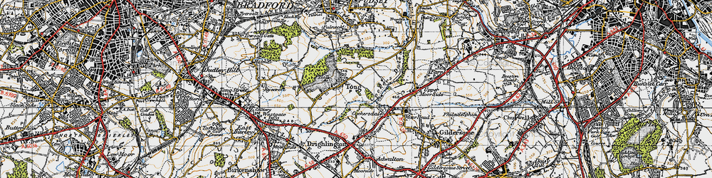 Old map of Leeds Country Way in 1947