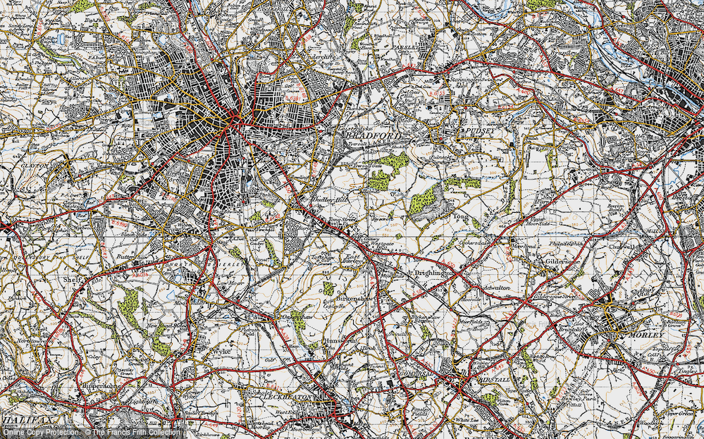 Old Map of Tong Street, 1947 in 1947