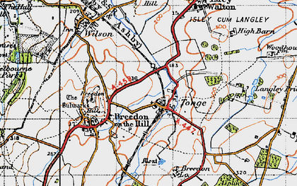 Old map of Langley Priory in 1946