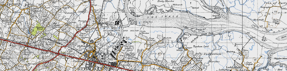 Old map of Tonge Corner in 1946