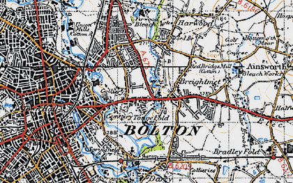 Old map of Tonge Fold in 1947