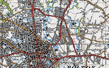 Old map of Tonge Moor in 1947