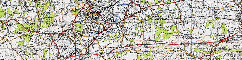 Old map of Tongham in 1940
