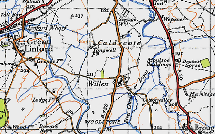 Old map of Tongwell in 1946