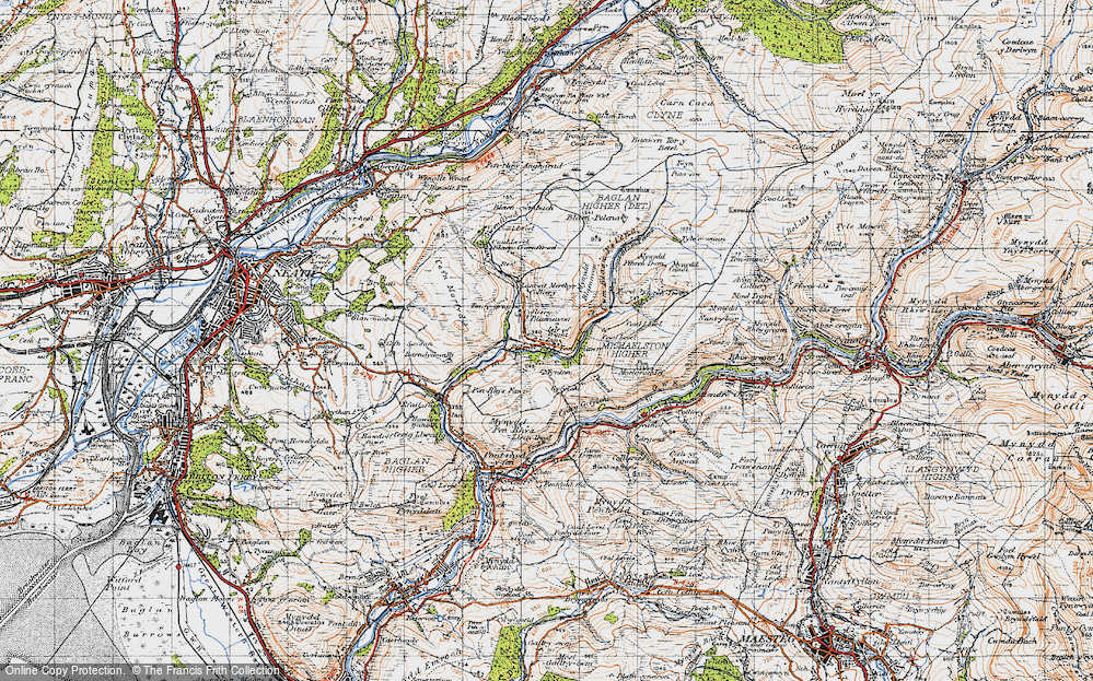 Old Map of Historic Map covering Afon Pelenna in 1947
