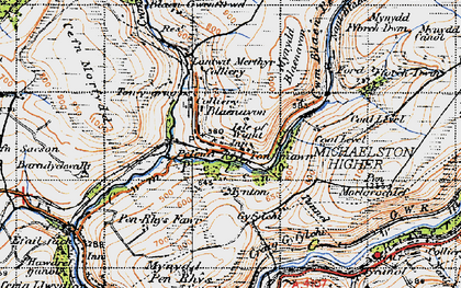 Old map of Afon Pelenna in 1947