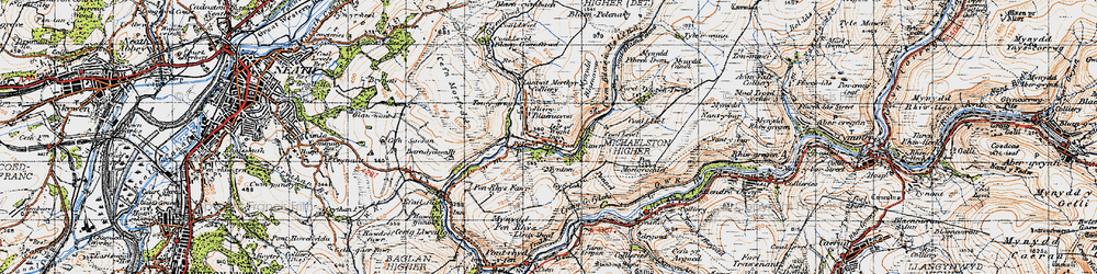 Old map of Tonmawr in 1947