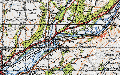 Old map of Tonna in 1947