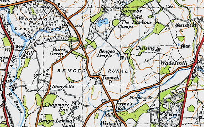 Old map of Tonwell in 1946