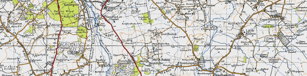 Old map of Toot Baldon in 1947