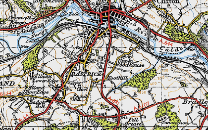 Old map of Toothill in 1947