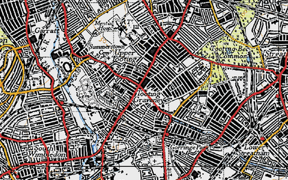 Old map of Tooting in 1945