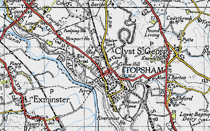 Old map of Topsham in 1946