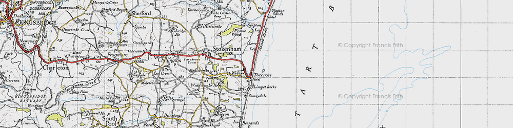 Old map of Torcross in 1946