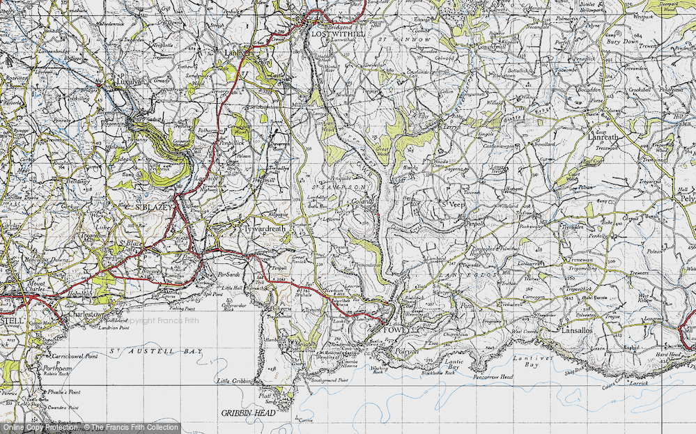 Old Map of Historic Map covering Leyonne in 1946