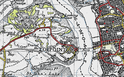 Old map of Torpoint in 1946