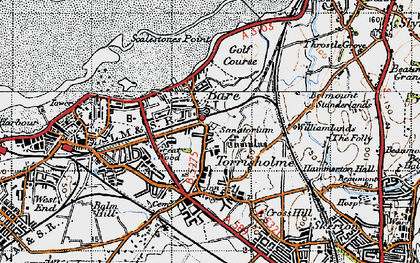 Old map of Torrisholme in 1947