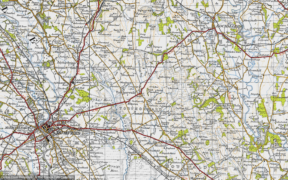 Old Map of Historic Map covering Bank Plantn in 1947
