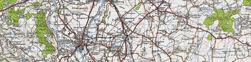 Old map of Whitlenge Ho in 1947