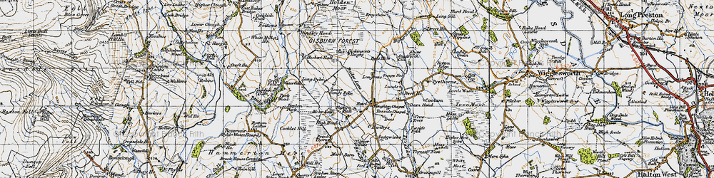 Old map of Whelp Stone Crag in 1947