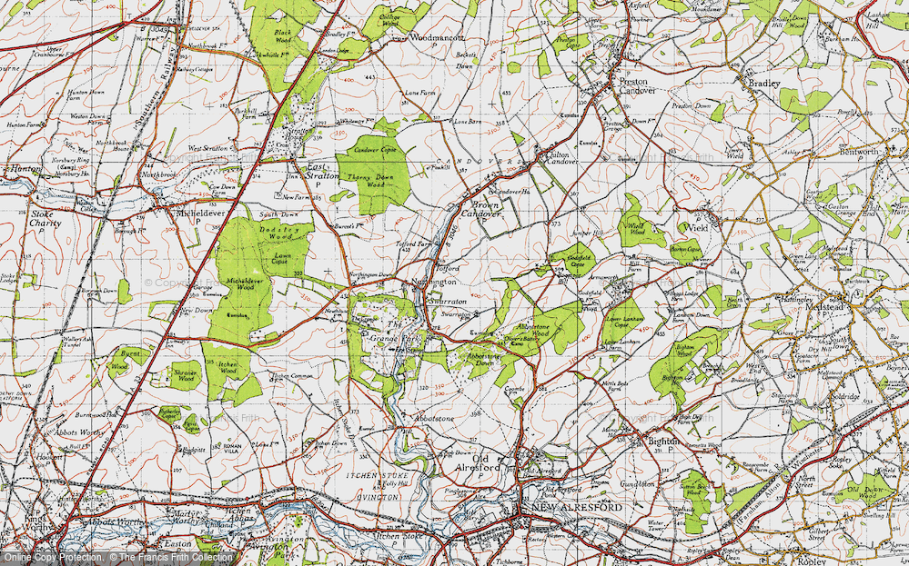 Old Map of Historic Map covering Abbotstone Down in 1945