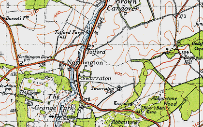 Old map of Abbotstone Down in 1945